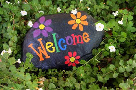 Beverly S Santa Maria Welcome Signs Rock Painted Rocks For Garden