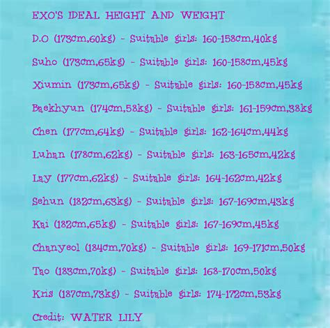 exo ideal type exo ideal height and weight