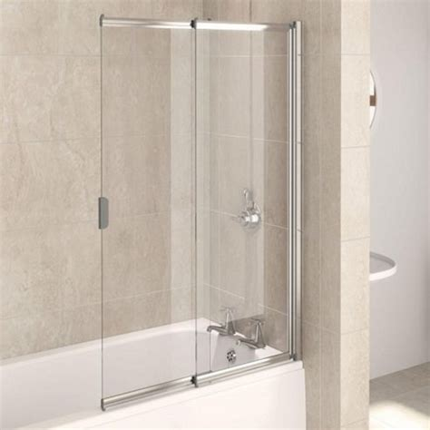 two panel sliding shower bath screen buy aqualux aqua4 2 panel sliding bath screen 820mm wide white frame 4mm glass from our bath