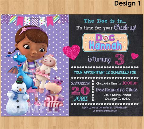 docs template card invitation birthday tips for choosing doc mcstuffins birthday invitations