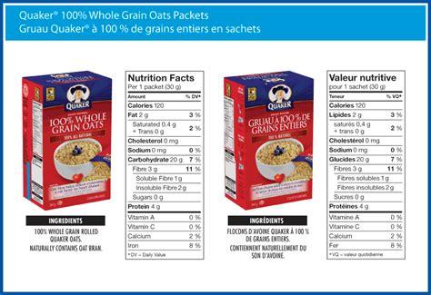 whole grain quaker oats nutrition facts a canadian oatmeal product food label scotland s unique