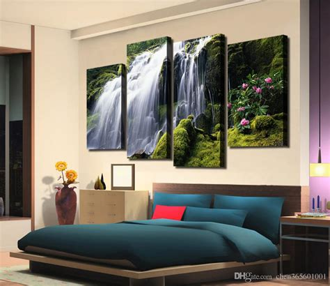 aliexpress com buy 4 panel waterfall and green lake 2018 2016 hot sell 4 panel waterfall with green tree large