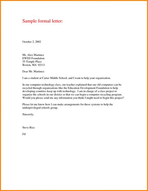 Printable Formal Letter Format Sle Template Writing A Formal Letter Template
