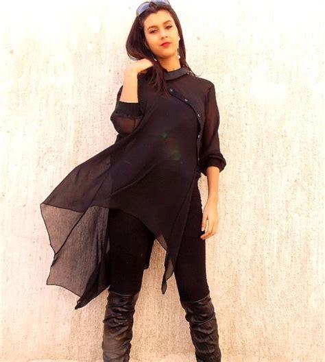 Kesha Tunik Asymmetric Blouse black asymmetric chiffon tunic asymmetric extravagant blouse