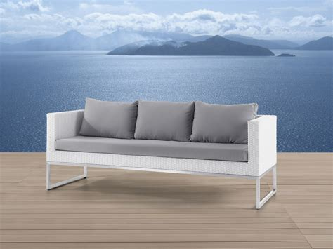 polyrattan sofa wicker patio sofa white rattan crema