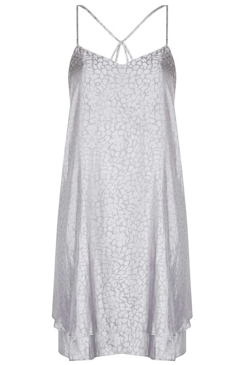 swing slip dress topshop jaquard satin swing slip dress in gray grey lyst