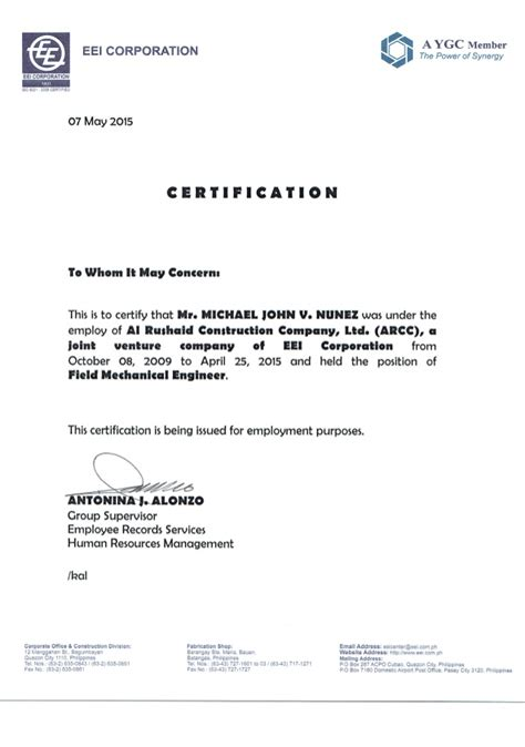 certification letter for visa application certificate of employment