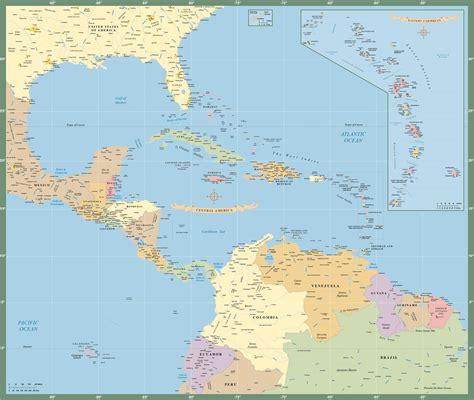 central america the caribbean map central america caribbean map digital creative