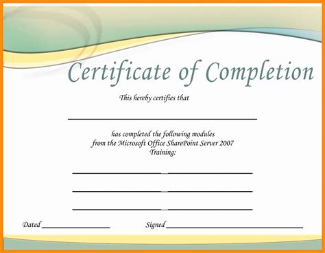 sles of certificate of completion construction