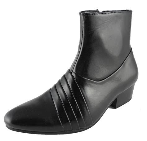 mens cuban heels black leather look ankle boots inside zip