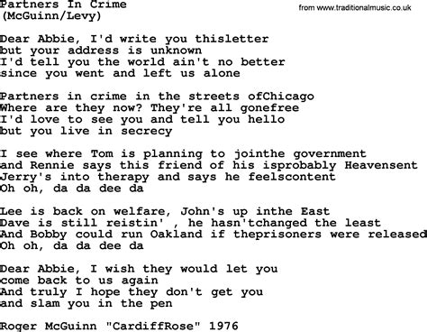 in lyrics partners in crime by the byrds lyrics with pdf