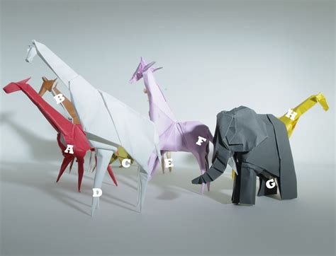 Origami Zoo Animals - i ate what i am six giraffes a an elephant