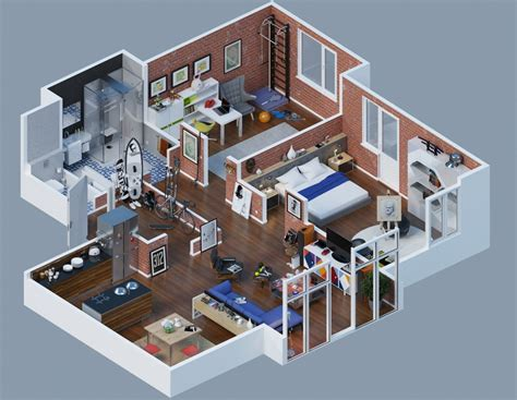 interior design layout apartment designs shown with rendered 3d floor plans