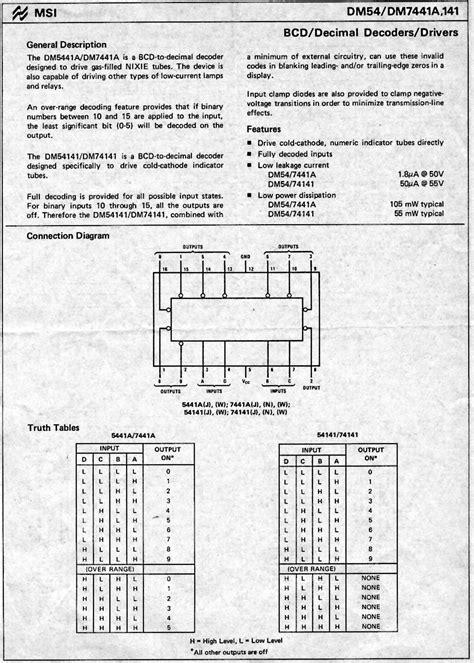 d965 transistor datasheet data sheet nixie driver ic 74141