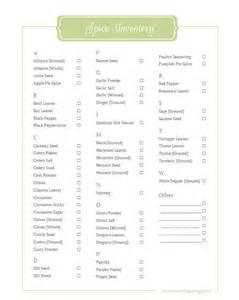 spice inventory printable creative savings