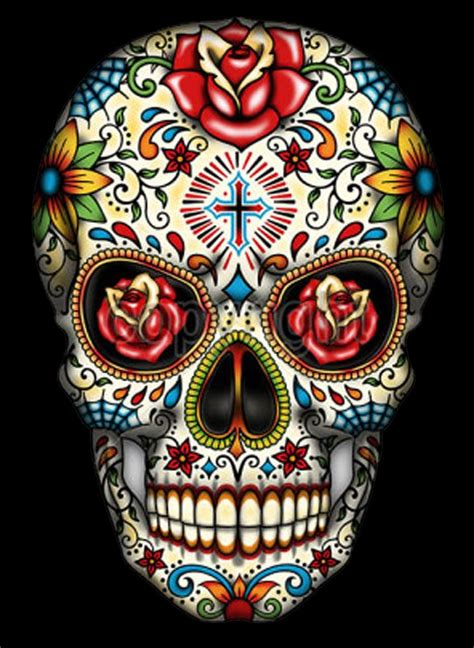 cross and skull tattoo sugar skull with cross t shirt plus size or