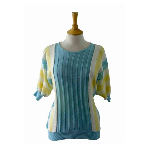 80s knitted multicolored top blue 17 vintage fashion