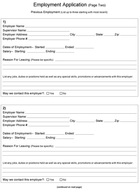 printable job application free free application for employment free printable documents