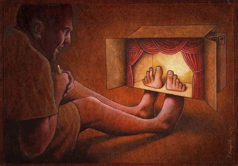 biography of theatre artist satirical art drawings by pawel kuczynski
