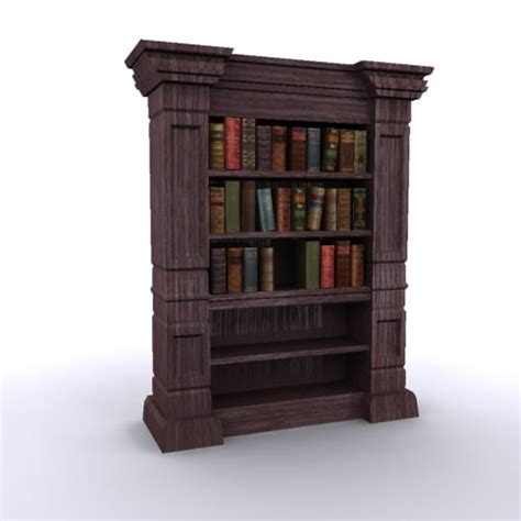 antique bookshelf books 3d model