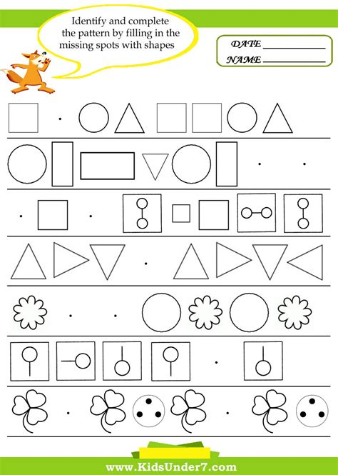 pattern recognition math worksheets worksheets for kindergarten patterns worksheet exle