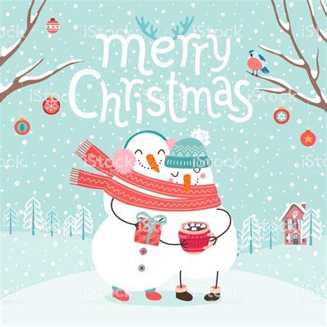 cute snowmen couple hugging merry christmas card stock illustration  image  istock
