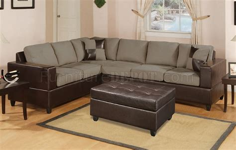 Plush Leather Sofa Pebble Microfiber Plush Modern Sectional Sofa W Faux Leather