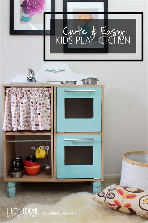 remodelaholic cute easy kids play kitchen from a cube