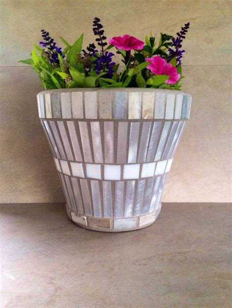 mosaic flower pot garden container outdoor patio planter