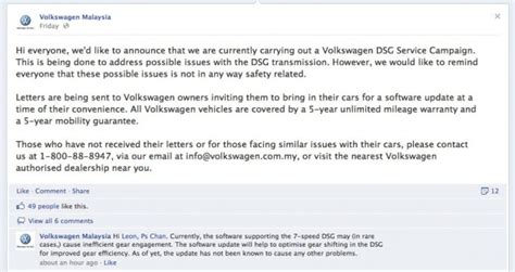 Complaint Letter Volkswagen Volkswagen Malaysia Dsg Service Caign