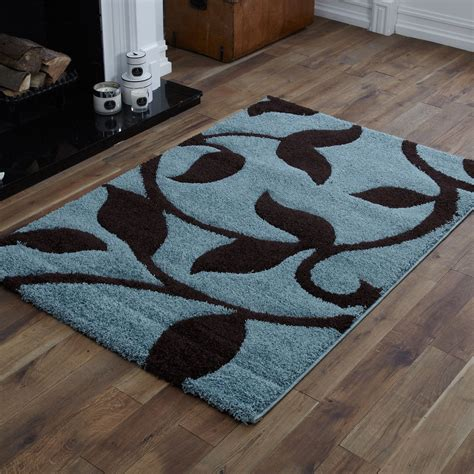 blue and brown rugs quality small to large duck egg blue chocolate brown carved shaggy rugs ebay
