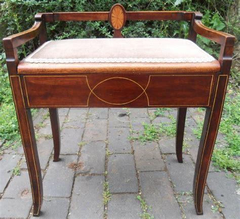 edwardian inlaid mahogany piano stool 354071
