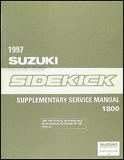auto repair manual free download 1997 suzuki sidekick user handbook 1996 suzuki sidekick sport 1800 repair shop manual supplement original