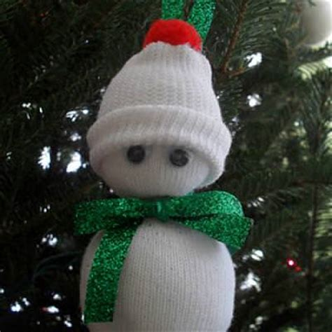baby sock snowman ornament crafts for