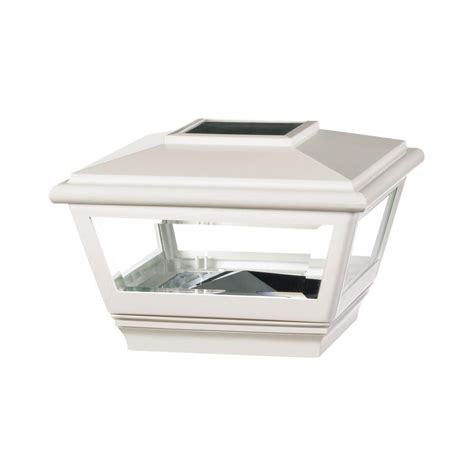 home depot solar post lights deckorail 4 in x 4 in white vinyl solar pyramid post cap
