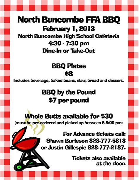 bbq fundraiser flyer template ask wnc buncombe ffa chapter announces scholarship