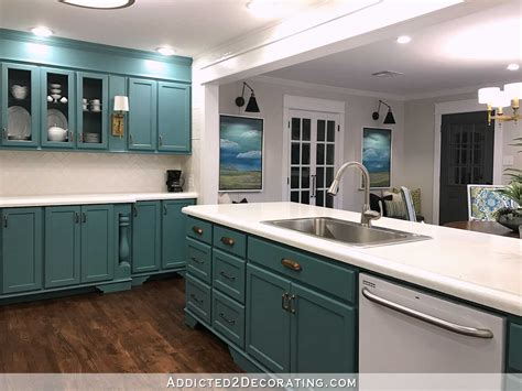 kitchen towards the back and extra bedroom space to the my finished for now kitchen from kelly green to teal