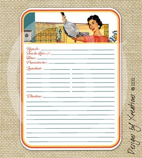 vintage recipe card template retro blank recipe card digital template 5x7 by pinkpapertrail