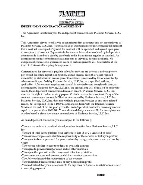 1099 contractor agreement template 10 best images of 1099 contract employee agreement 1099