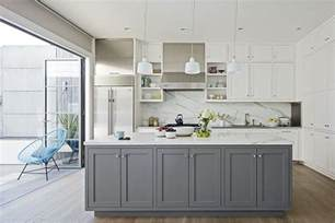 White And Grey Kitchen by Cabinets Furniture Gray