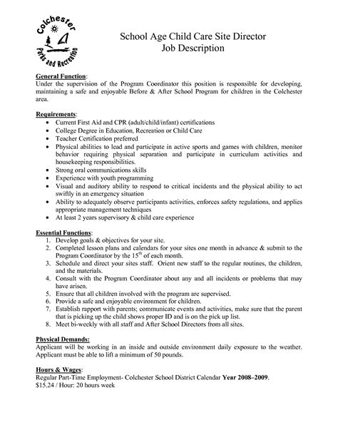 daycare description resume resume ideas