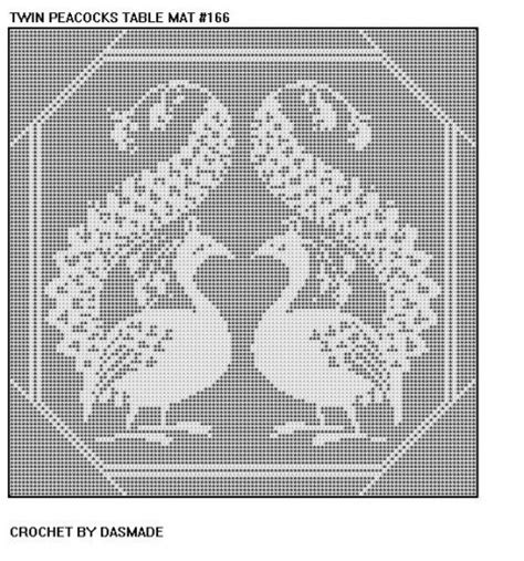 filet crochet patterns for home decor 166 twin peacocks filet crochet doily mat afghan pattern