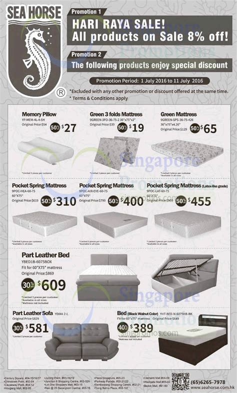Mattress Singapore Promotion by Sea 1 Jul 2016 187 Sea 8 Storewide 30 To