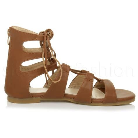 ankle tie flat sandals womens flat lace up strappy ankle tie gladiator