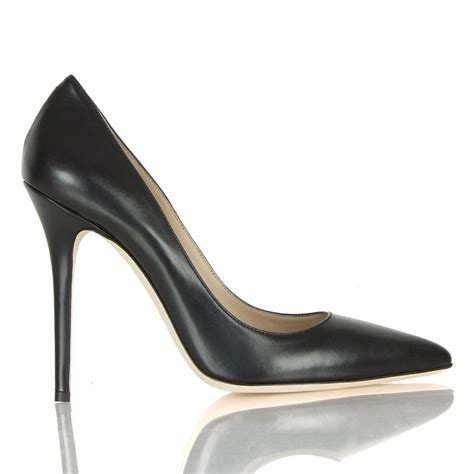 Court Shoes by Daniel Mustio Black Leather Court Shoe
