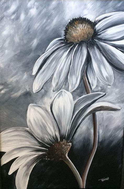 acrylic paint on black canvas black and white acrylic painting by trish jones