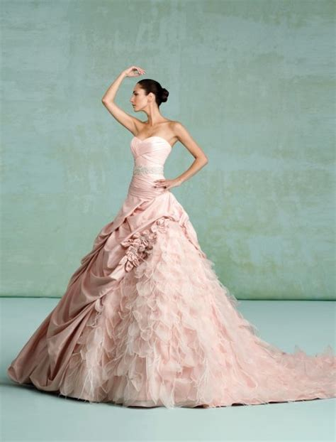 Light Pink Wedding Dresses by Reese Witherspoon Blushing In Light Pink Wedding Dress Onewed