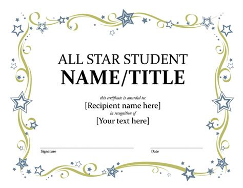 all star student certificate templates office com