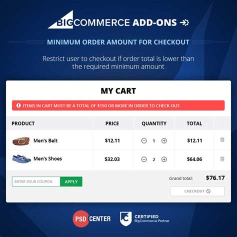 Bigcommerce Add On Minimum Order Amount For Checkout Themes Psdcenter Com Bigcommerce Checkout Template