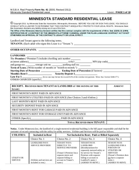 17 Printable Residential Lease Agreements Free Premium Templates Standard Rental Agreement Template